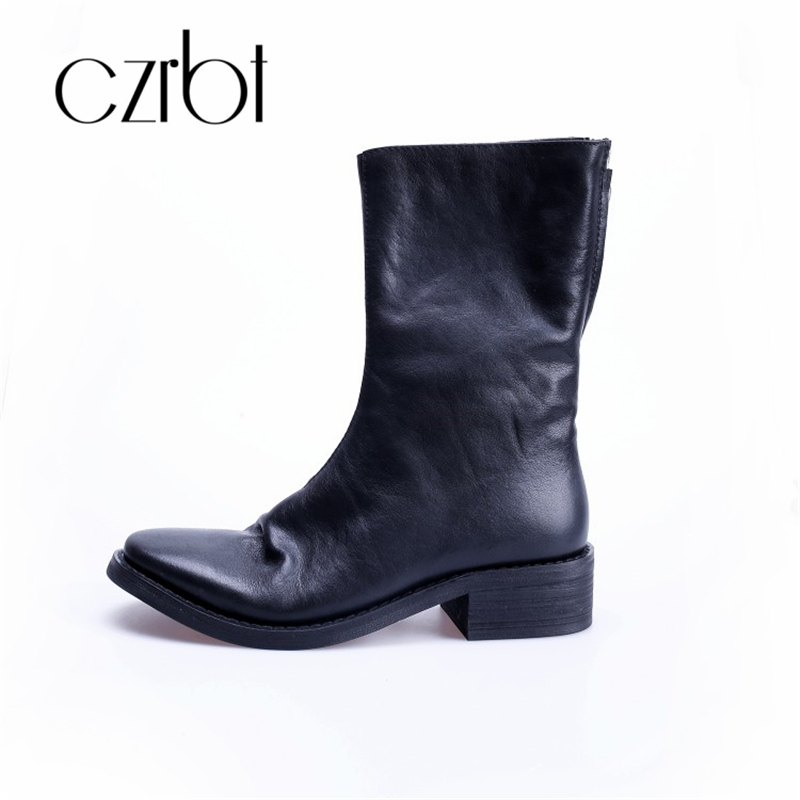czrbt 2018 new autumn leather round head thick heel retro rear zipper middle heel female bootie цена