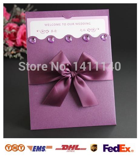 Whole Elegant Dark Purple Wedding Invitation Card With Ribbon Diamond Decor Free Envelops Seal