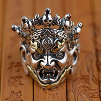 FNJ Vintage Skull Ring 925 Sterling Silver Punk anillos Male S925 Thai Silver Rings for Women Men Jewelry
