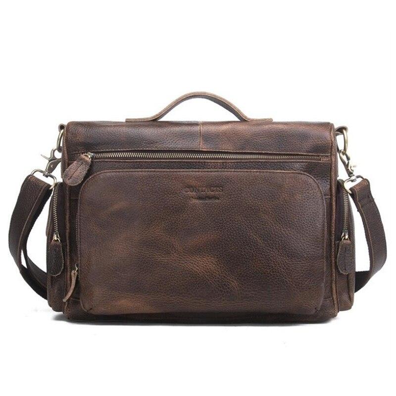 New Retro Crazy Horse Genuine Leather Men's Classic Handbag Messenger Shoulder Bag Travel Business Laptop Bag Briefcase LJ-0526 247 classic leather