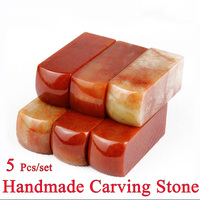 5Pcs/set Red color Painting Stamp Seal Stone Handmade Carving Stone Sculpture Seal Stone For School Art Supplies