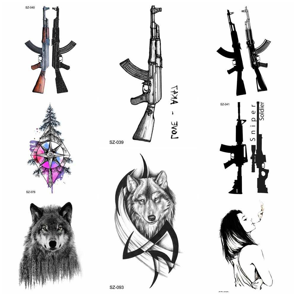 Black AK Gun وشم مؤقت للرجال ساحات القتال PUBG وشم مقاوم للماء للنساء على شكل مثلث الذراع وشم قناص AKM AK47 M416 سلاح