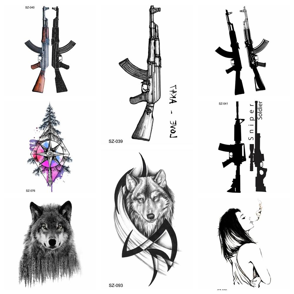 Black Ak Gun Temporary Tattoo Men Battlegrounds Pubg Fake -7406
