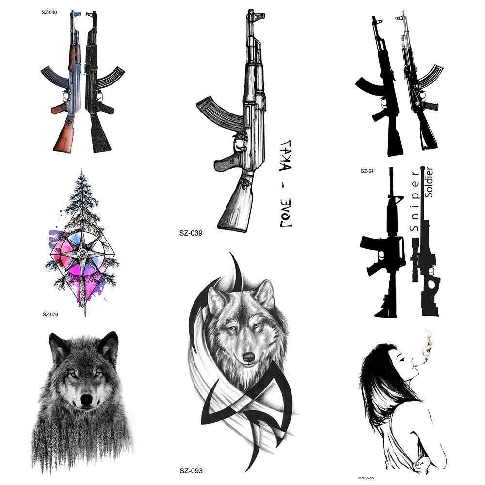 Zwart AK Gun Tijdelijke Tattoo Mannen BATTLEGROUNDS PUBG Fake Waterdicht Tatoos Vrouwen Driehoek Arm Tatoo Sniper AKM AK47 M416 Wapen