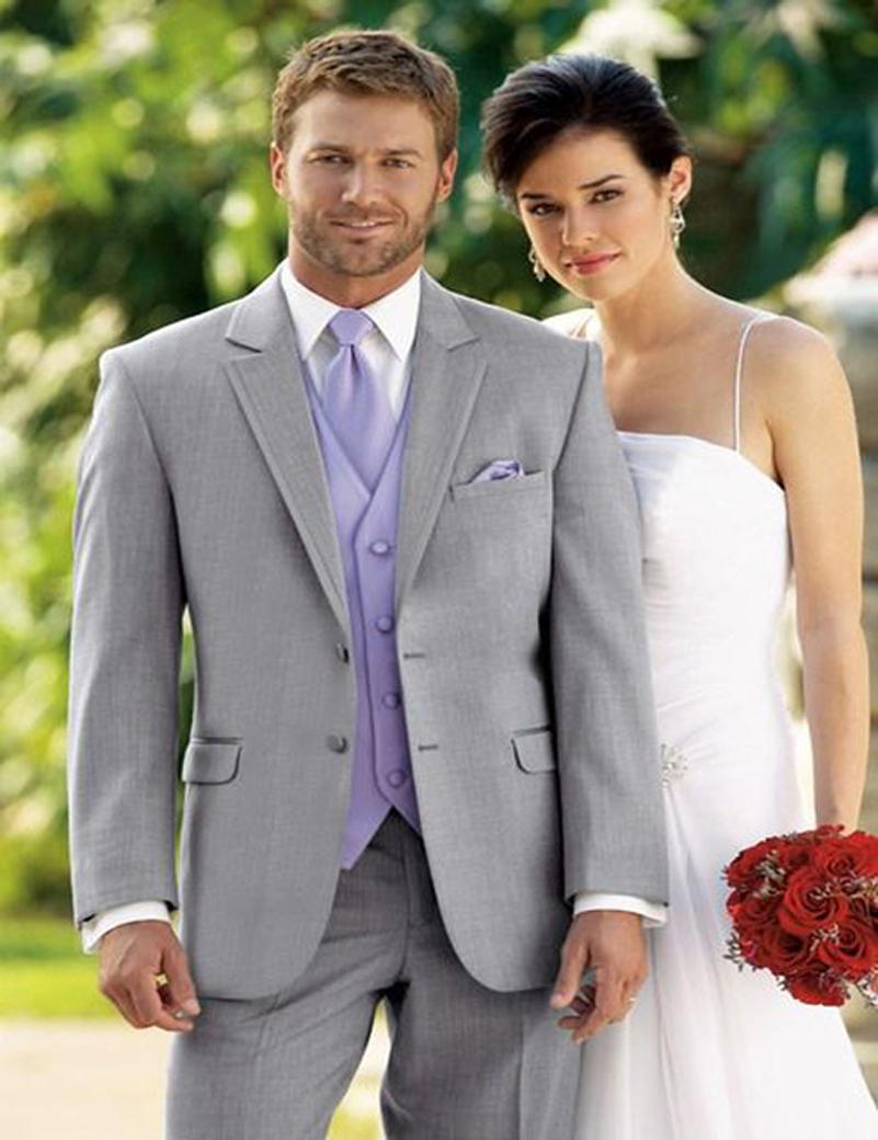 New Arrival Two Buttons Light Grey Groom Tuxedos Groomsmen