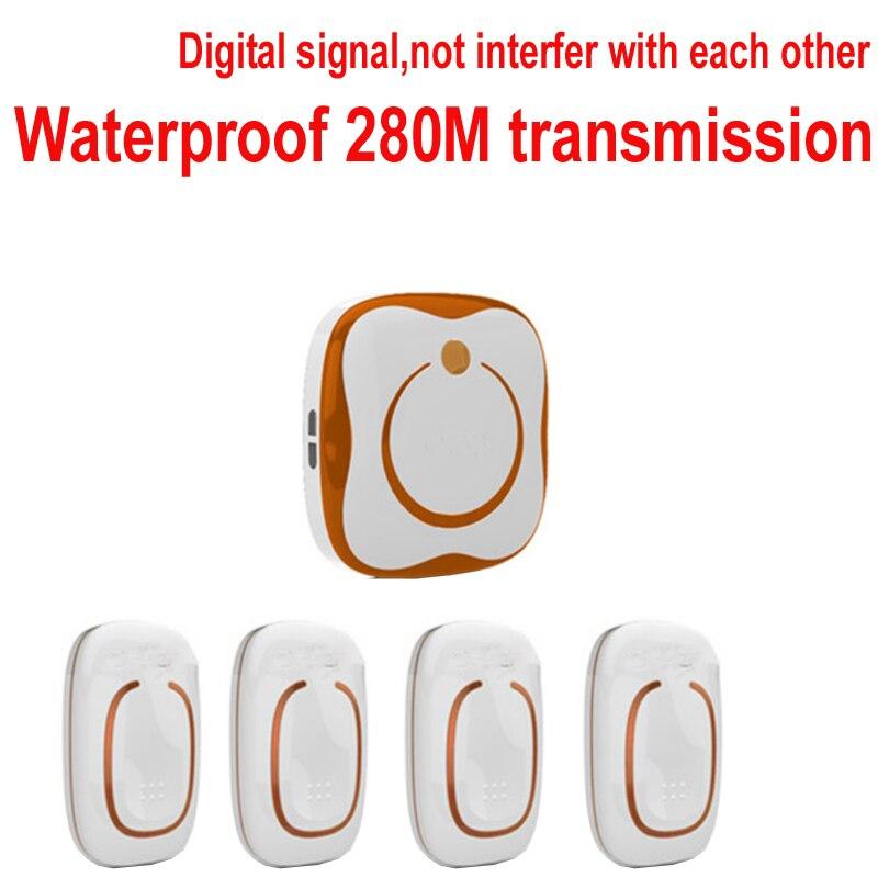 bell with 4 emitters+1 receivers Waterproof 280M Long-range wireless doorbell,wireless door chime,wireless bell 48 melodies bell ks v2 welcom chime bell sensor