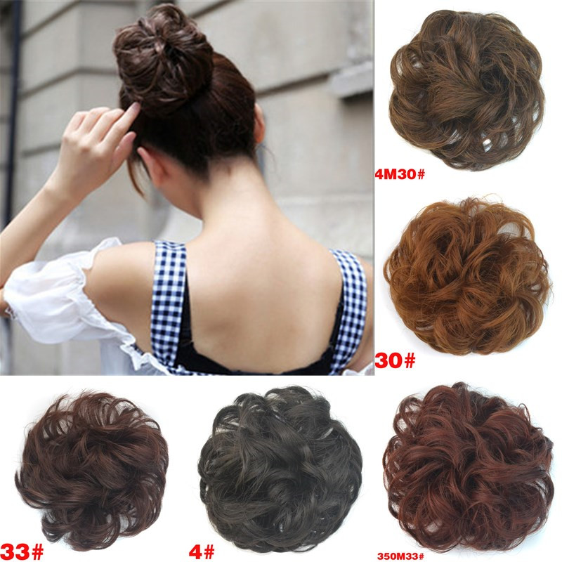 Försäljning 1pc Women Fashion Synthetic Hair Chignon Natural Hair Bun Extension Curly Scrunchie HairBand Hår Accessoarer