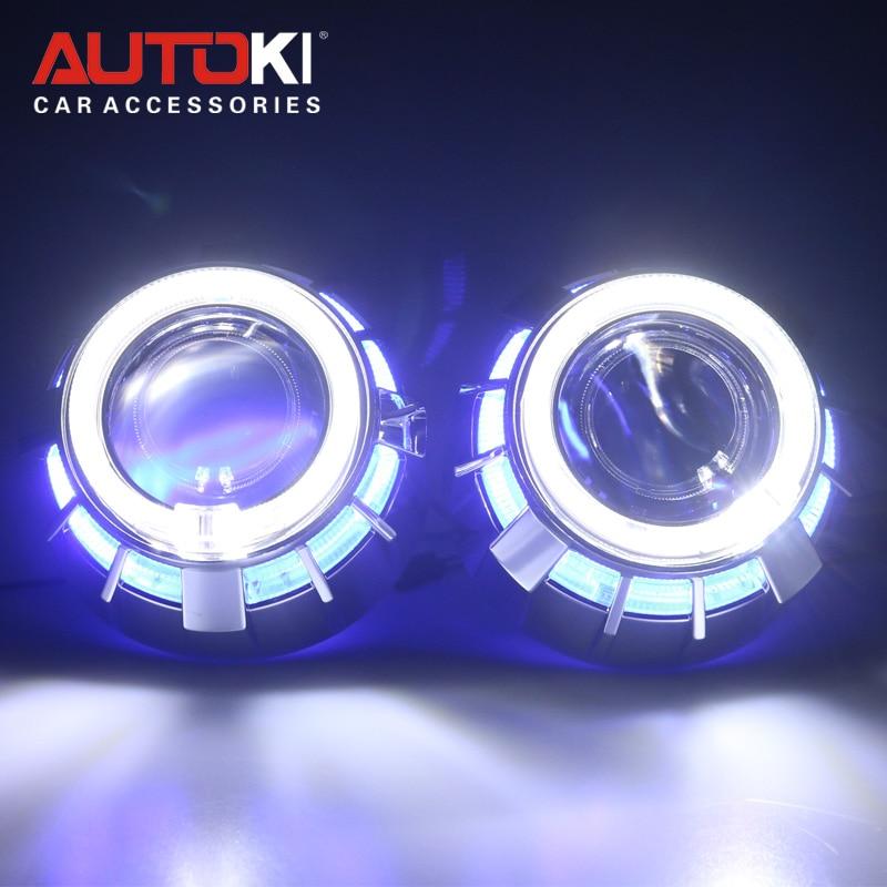 Autoki Dual Color LED Angel Eyes DRL HID Car Projector Lens Headlight Bi xenon Retrofit Kit