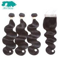 Allrun Pre Colored Hair Brazilian Body Wave 3 Bundles 100 Human Hair With 4 4 Closure