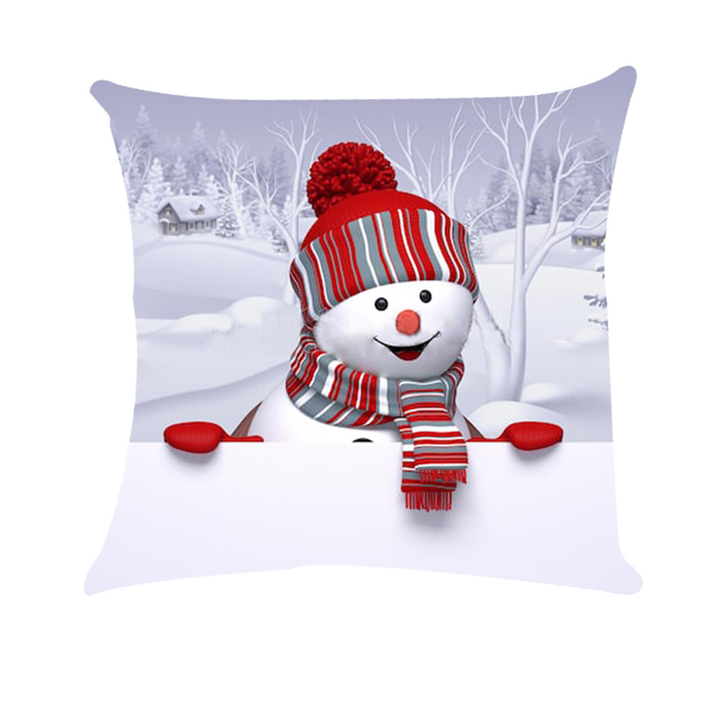 pillow case christmas for home xmas Snowman Super Soft Pillow Cover Cushion #XTN