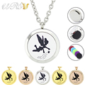 with chain as gift! magnet stainless steel tinker bell silver/gold/rose gold essential oil diffuser necklace fairy aroma locket