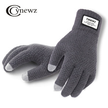 Winter Autumn Men Knitted Gloves Touch Screen High Quality Male Thicken Warm Wool Cashmere Solid Gloves Men Mitten Business cheap Gloves Mittens Wool Acrylic GD014 Fashion cynewz Wrist Adult Outdoor sports bicycle Free Size Fashion design Daily Anti-skid