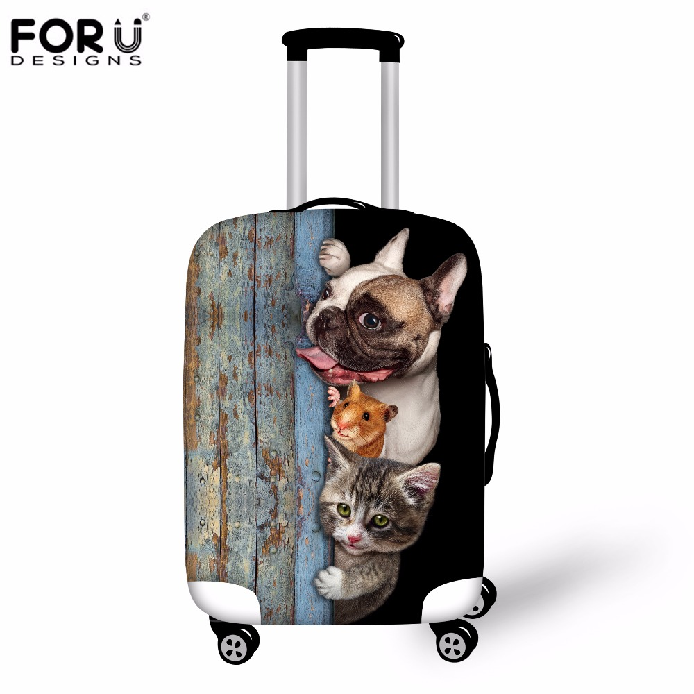 FORUDESIGNS 3D Cat Pug Dog Luggage Protective Cover Waterproof Thicken Rain Cover For 18 20 22 24 26 28 30 Inch Suitcase Stretch