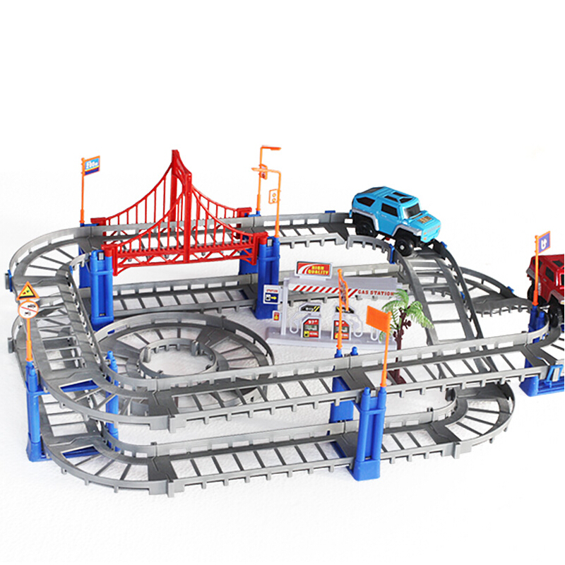 Electric rail car puzzle two layer spiral track roller coaster model slot car educational kid set