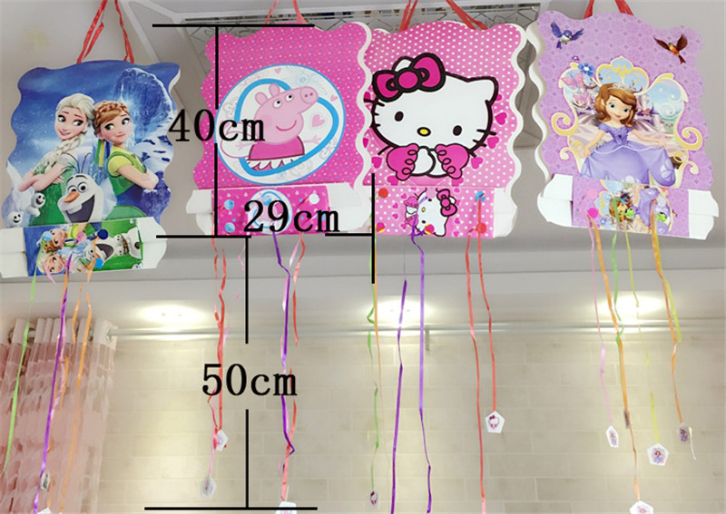 1pc 40x30cm Pokemon go Pikachu Pinata theme Party play party game bingo paper folding pinata 6 rope Birthday Decoration