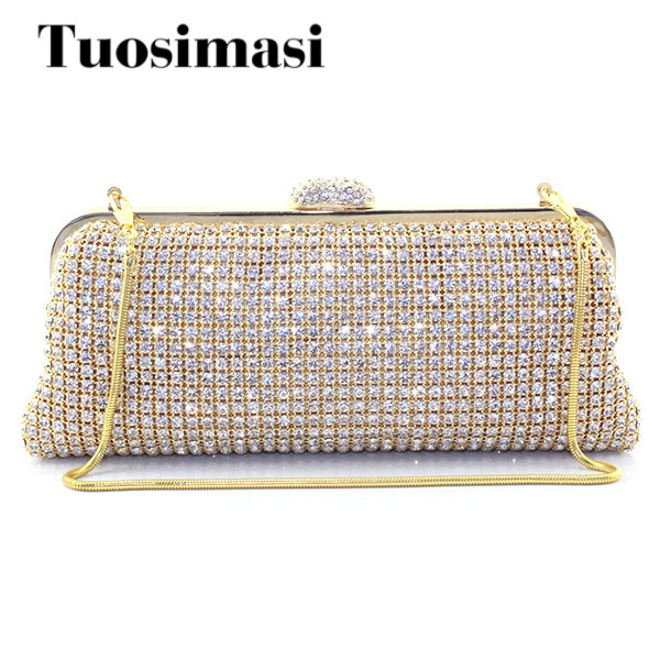 Gold Rhinestone Evening Bag Crystal Gold Clutch Bags Banquet Bling Rhinestone Clutches small shoulder bag rhinestone flower embroidered evening bag