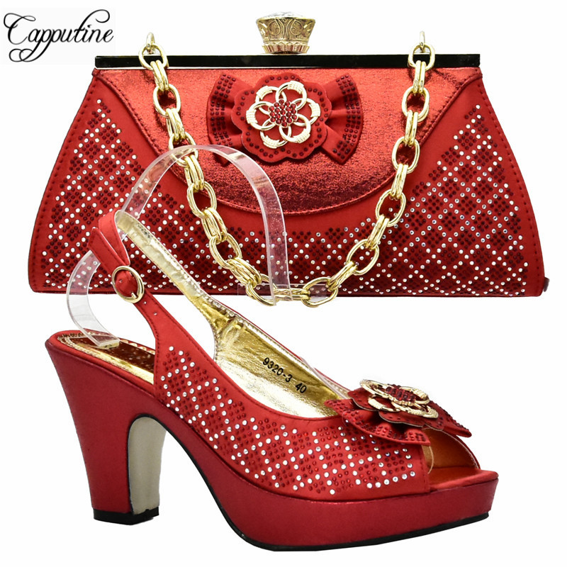 Capputine New 2018 Women Shoes and Bag Set In Italy Red Color Italian Pumps Shoes with Matching Bags Set For Wedding DF-055 african fashion shoes with matching bag set for wedding party italian design nigeria women pumps shoes and bags mm1060