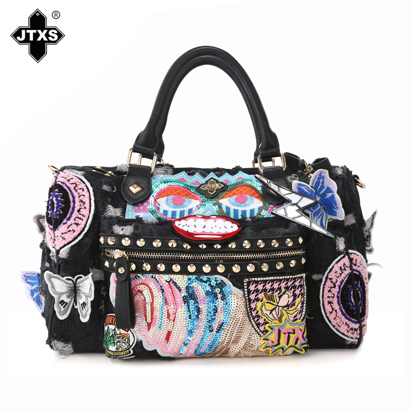 Us 37 51 8 Off 37x30cm Cowboy Style Handbag Messenger Rivets Sequins Package Washed Denim Shoulder Bag Canvas A2689 In Top Handle Bags From Luggage