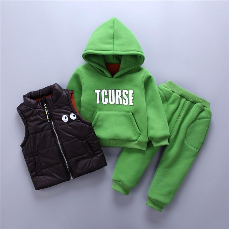 BibiCola infant girls clothes set spring autumn tracksuit 3pcs sets hoodies plus velvet vest+t-shirt+pants suit girls clothing детский костюм panda plus velvet suit ty1267 2015