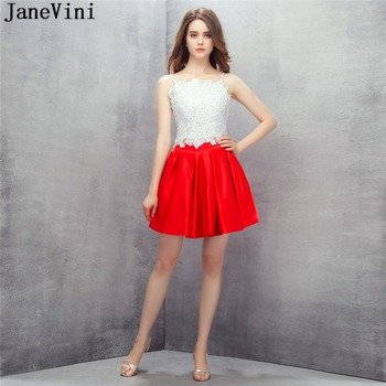 JaneVini Elegant Two Pieces Red Prom Dress Plus Size Spaghetti Straps Lace Appliques Beaded Satin Gown A Line Mini Prom Dresses