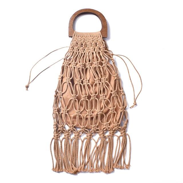 Hollow Tassel Rattan Bags Handmade Wood Handle Womens Handbags Woven Rope Straw Bag Casual Totes Summer Beach Purse Shopping Sac 5