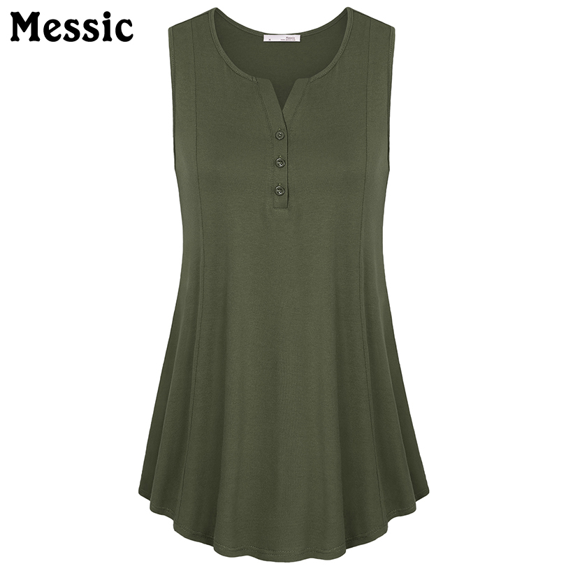 Tunic Tops O Neck Sleeveless Chiffon Blouse Front Buttons Loose Pleased Hem Swing Casual Tank Tops
