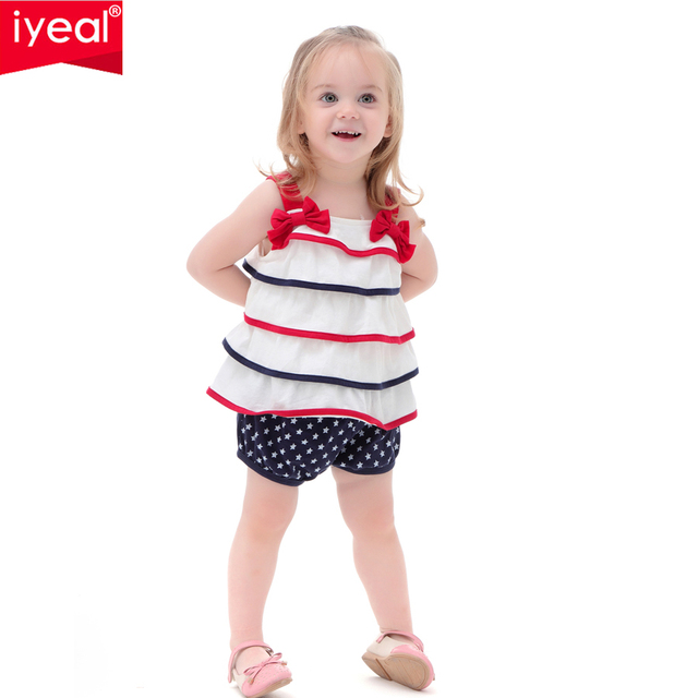 IYEAL Baby Girl Clothes Set Fashion Summer Infant Princess Outfits 3PCS Tops+Bloomers+Headband for Toddler Newborn Girl Clothing