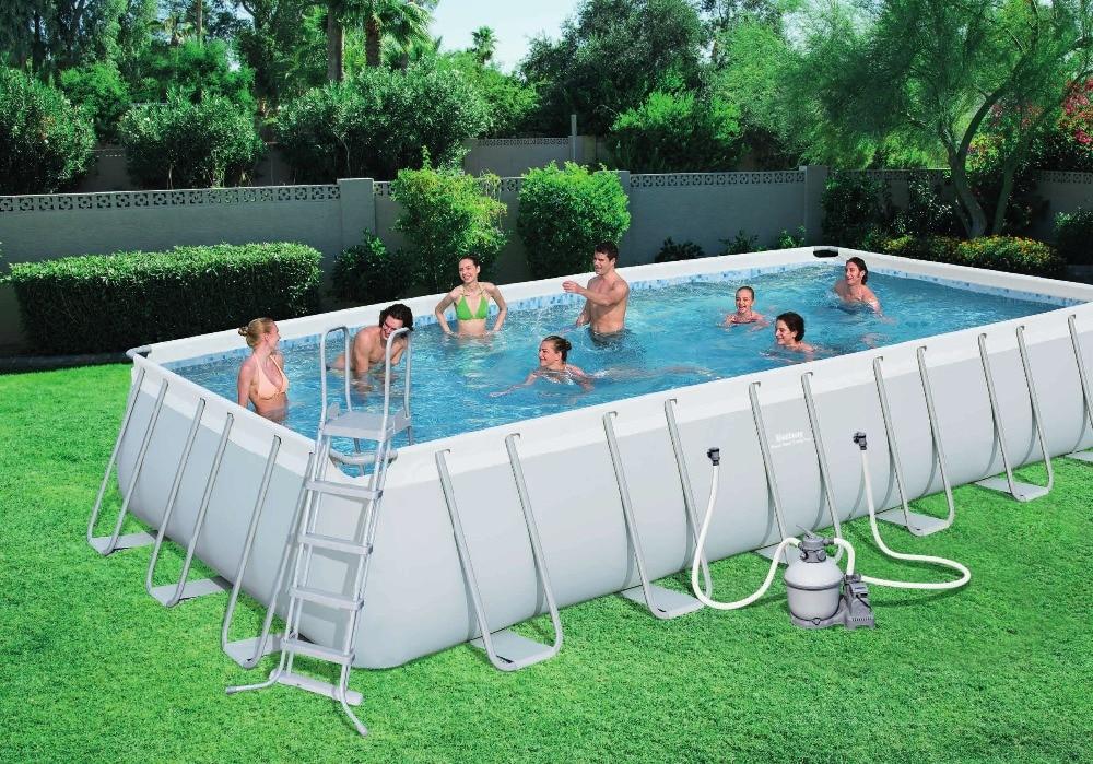 56474 Bestway 732x366x132cm Power Steel Rectangular Frame Pool Set ...