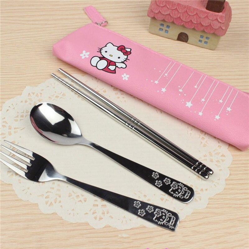 3PCS/SET Cartoon Hello Kitty Doraemon Stainless Steel Travel Dinnerware Set Cutlery Fork Set For Kids Children Tableware C
