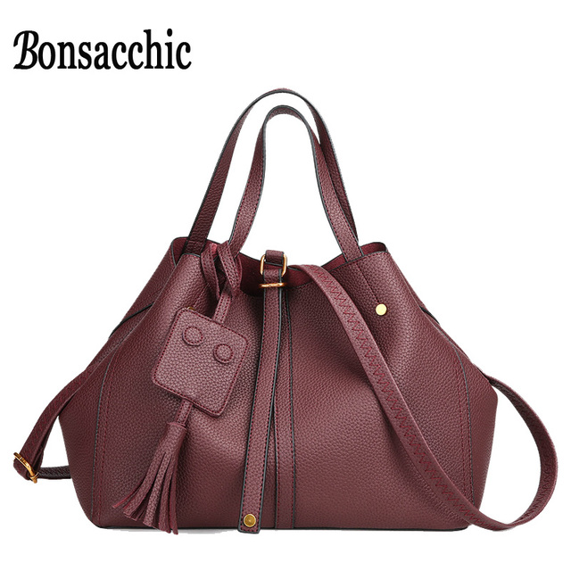 Bonsacchic Fashion Handbags 2017 Women Red Bag Bucket Luxury Bags Designer Large Fringe Handbag