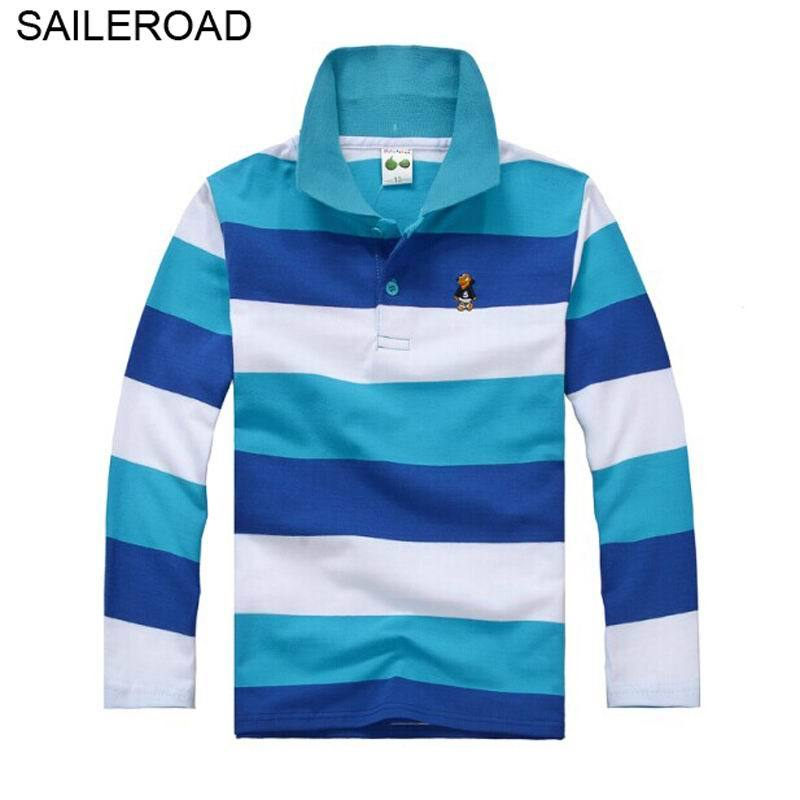 SAILEROAD 3-15Year Juvenile Big Kids Boys Polo Shirts Cotton Striped Colors Casual Teenager Children Girls Long Sleeve Shirts
