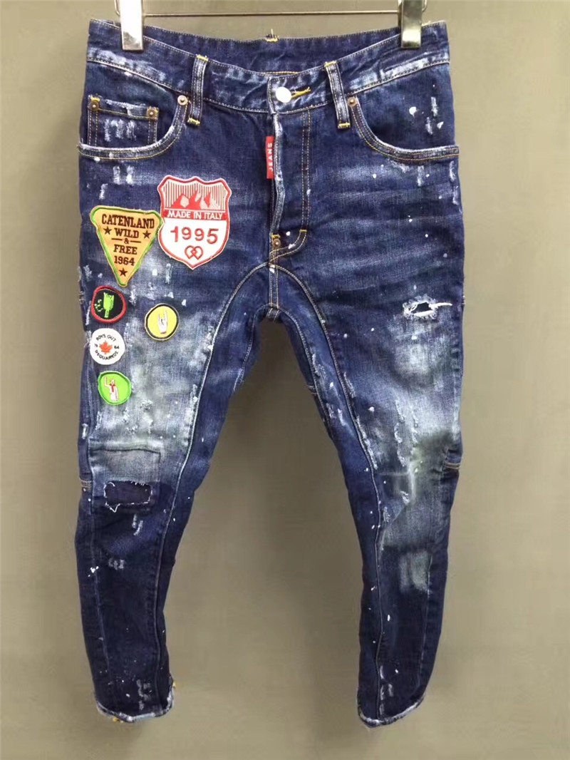 F.N.JACK New Fashion Skinny   Jeans   Men Stylish Ripped Men's   Jeans   Pants Motor Biker   Jeans   Slim Straight Denim