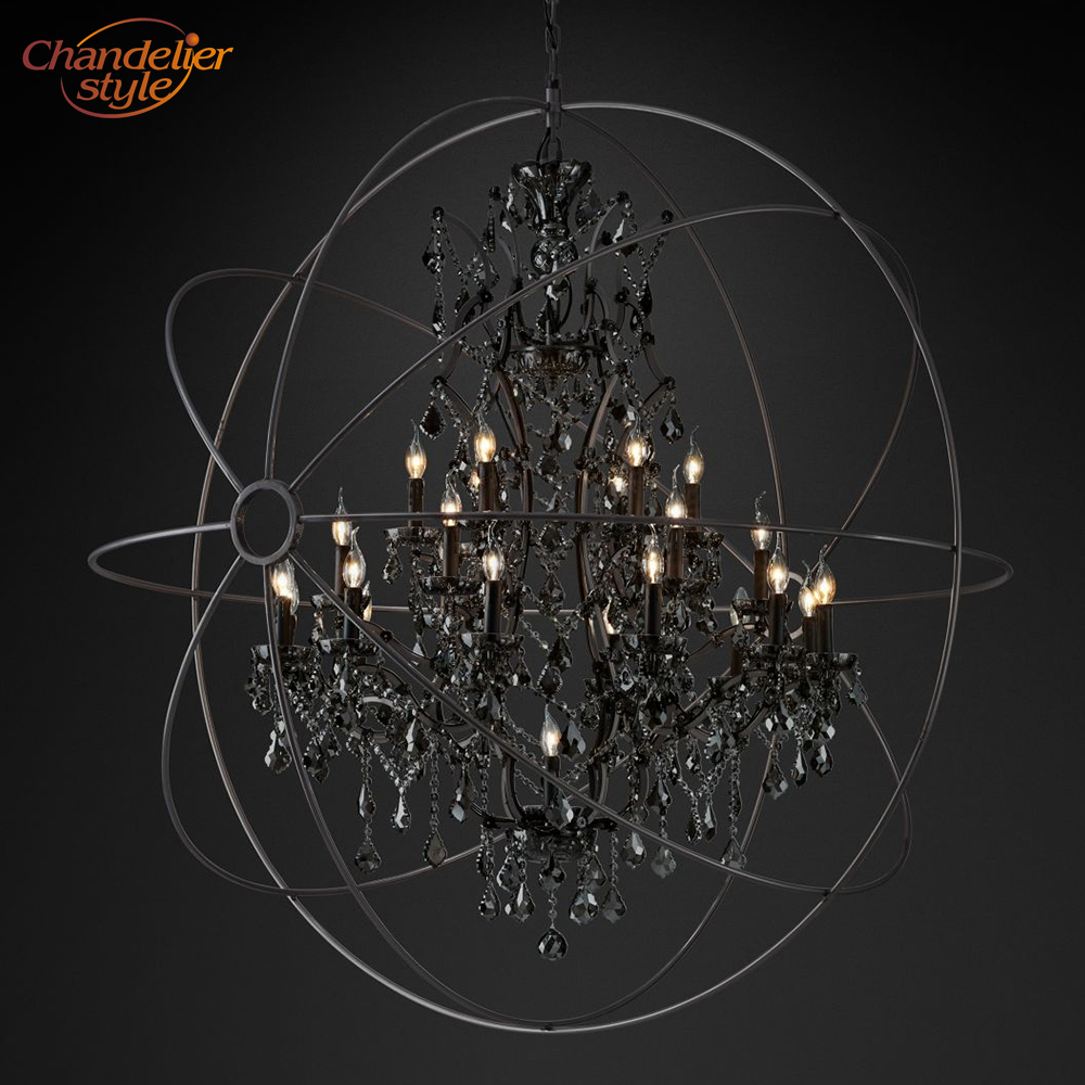 Foucault s Orb Smoke Crystal Chandelier Lighting Rustic Candle Chandeliers Lamp LED Pendant Hanging Light Hotel