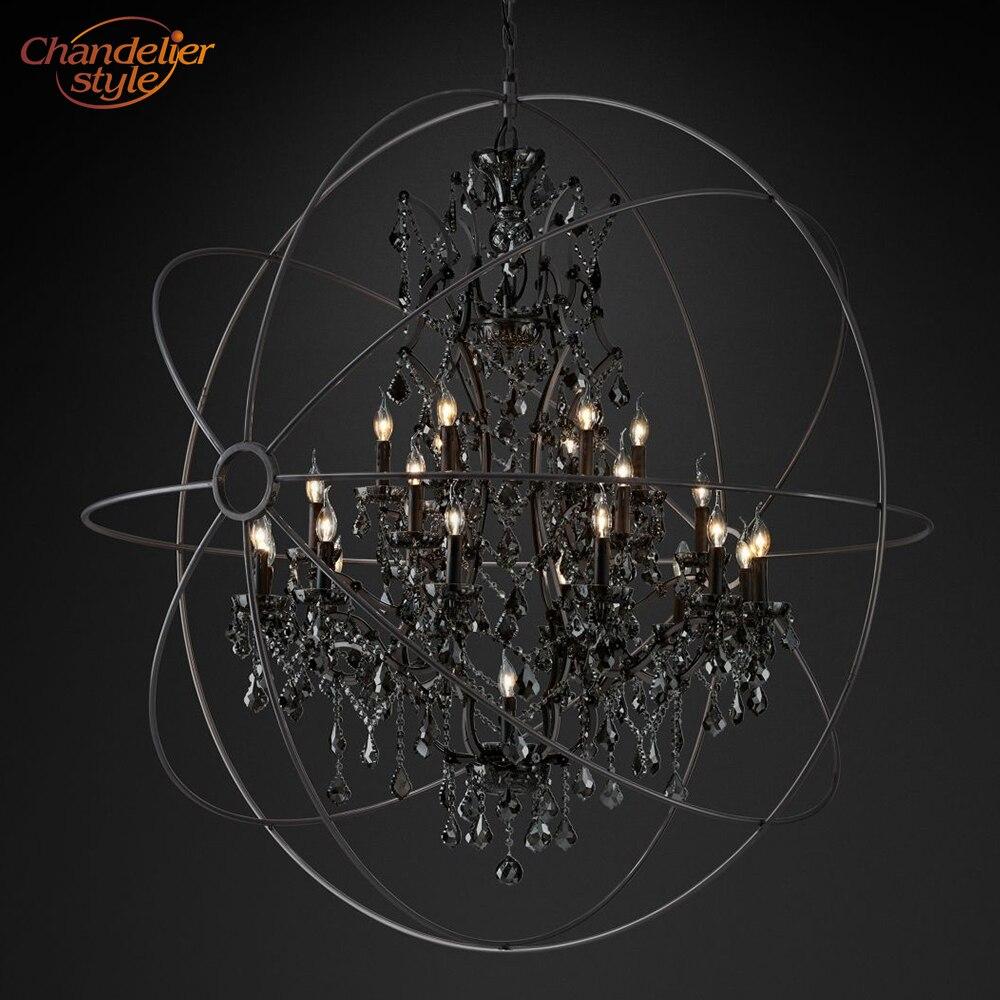 Foucault's Orb Smoke Crystal Chandelier Lighting Rustic Candle Chandeliers Lamp LED Pendant Hanging Light Hotel Chandelier Light