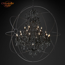 Foucaults Orb Smoke Crystal Chandelier Lighting Rustic Candle Chandeliers Lamp LED Pendant Hanging Light Hotel Chandelier Light