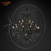 Foucault's Orb Smoke Crystal Chandelier Lighting Rustic Candle Chandeliers Lamp LED Pendant Hanging Light Hotel Chandelier Light