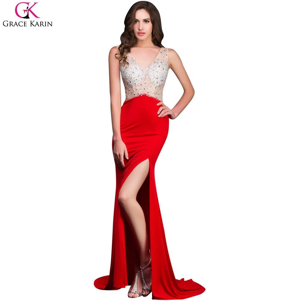 Grace Karin Long Mermaid Prom Dresses Beaded Sequin Backless