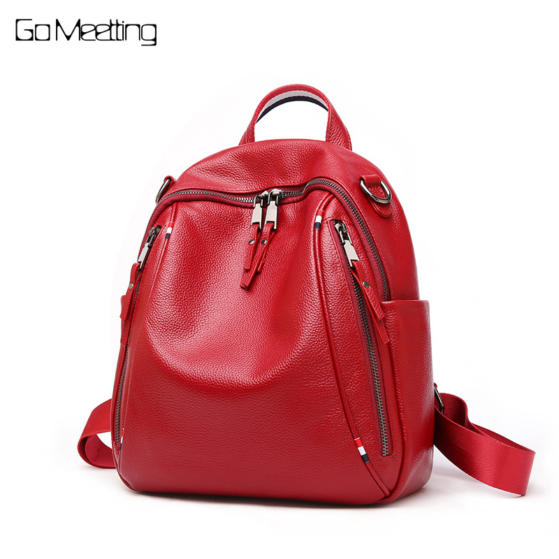 Go Meetting Fashion Genuine Leather Backpack Women Bags Preppy Style Backpacks Girls Shoulder Bag Zipper Kanken Leather Bagpack fashion women real leather backpack mochila lady genuine leather backpacks preppy style leather school bag kanken backpack