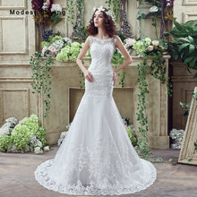 Elegant White Mermaid Pearls Lace Beaded Wedding Dresses 2017 Formal Women Long Church Bridal Gowns robe de mariee Custom Made