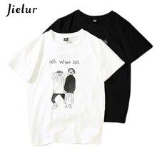 Jielur New Summer Harajuku BF Women T-shirts Cartoon Letter Printed Funny O-neck Females T-shirt Short-sleeved Loose Tops S-XXL