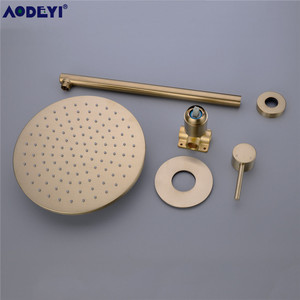 Image 5 - Brushed Gold Solid Brass Bathroom Shower Set Rianfall Head Bath Faucet Wall Mounted Ceiling Arm Mixer Water System Panel Black
