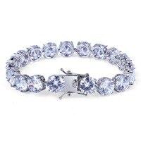 Hip hop Bling Iced Out Cubic Zirconia Bracelet White Gold Tennis Chain Bracelets Women Men 1 Row CZ Stone Link Chain Jewelry