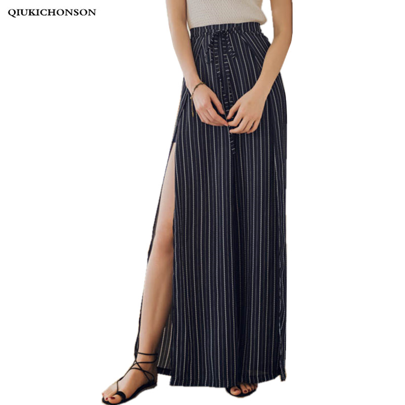 Sexy Side High Slit Chiffon Striped Pants Casual Vintage Wide Leg Pants High Waisted Ladies Bohemian Beach Trousers Pantalon