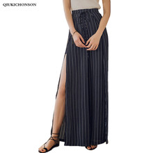 цена на Sexy Side High Slit Chiffon Striped Pants Casual Vintage Wide Leg Pants High Waisted Ladies Bohemian Beach Trousers pantalon
