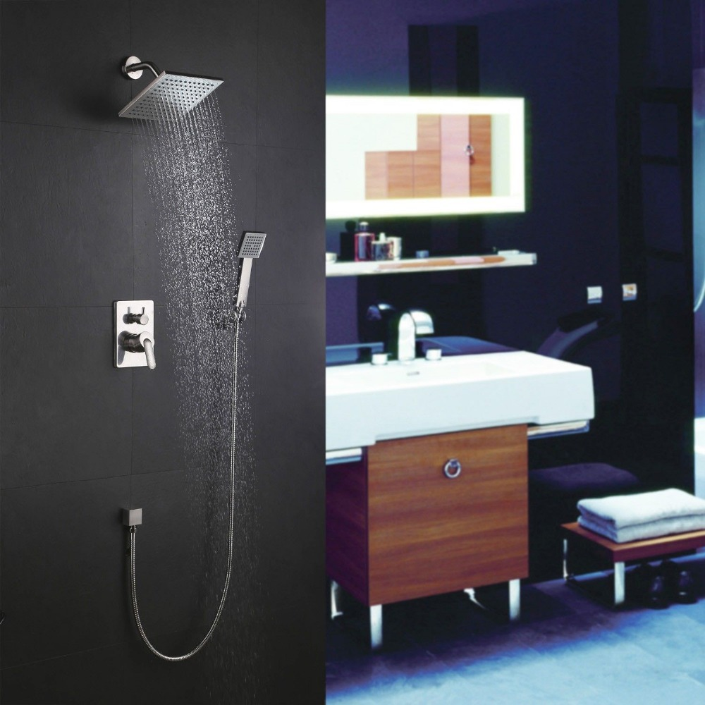 Modern Bathroom Wall Mount 2 Function Concealed Chrome Shower faucet ...