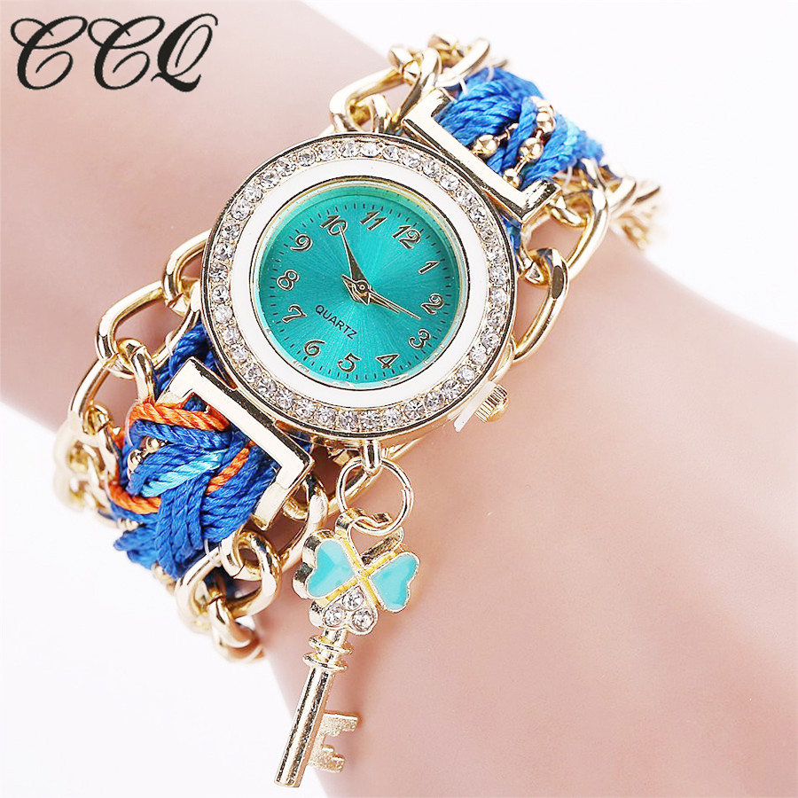 2016 CCQ Brand Women Gold Weave Hand Fashion Ribbon W *