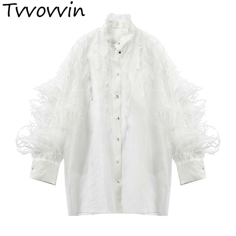 TVVOVVIN Women Blouses Ostrich Hair Organza Ruffles Perspective Women Shirts Long Sleeve Loose Long Women Tops