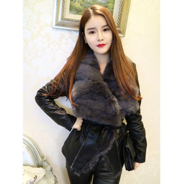 Europe Rabbit Fur Coat 2019 New Autumn and Winter Ladies Slim Rabbit Fur Jacket Parka Cotton Leather Short Jacket Female NS765