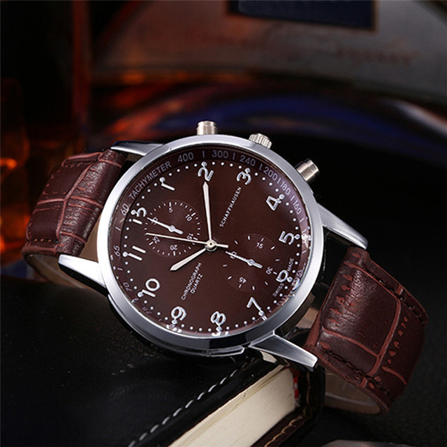 NEW Fabulous Unisex Leather Stainless Steel Dial Quartz Wrist Watch kol saati wh
