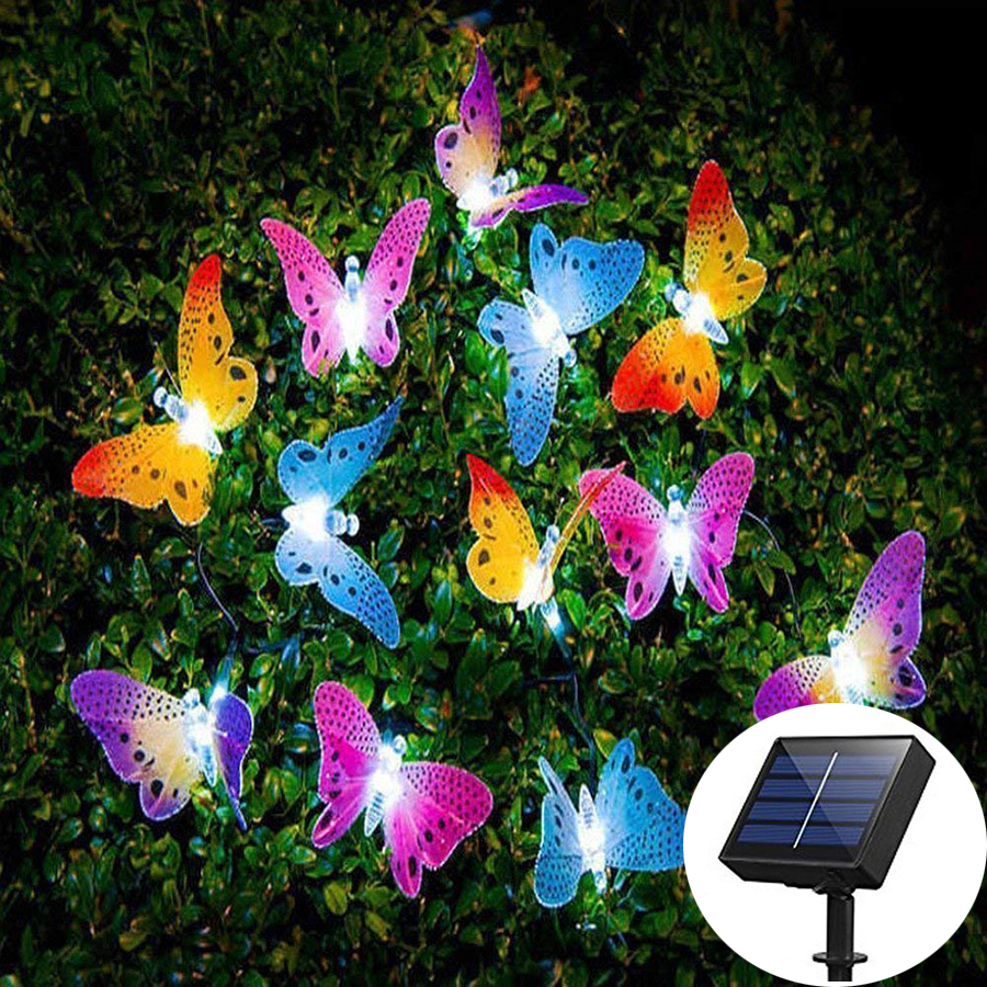 Solar Powered 12leds Butterfly Fiber Optic Led Fairy String Lights Waterproof Christmas Outdoor Garden Holiday Night Lighting